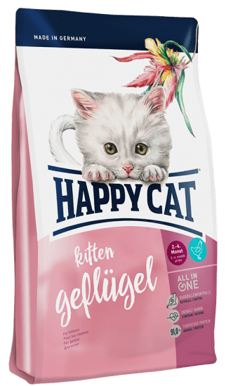 Happy Cat Kitten сухой корм .для котят до 6 месяцев птицей и лососем
