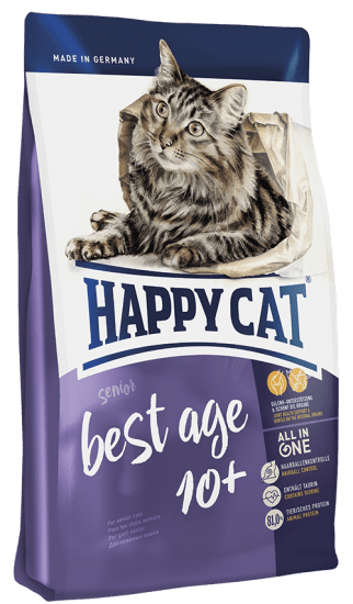 Happy Cat Best Age 10+ корм для пожилых кошек от 10 лет , с птицей , ягненком и лососем